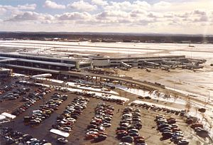 Greater Rochester International Airport - ROC's passenger terminal seen from an approaching aircraft in December 2005