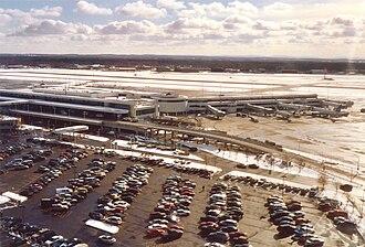 Greater Rochester International Airport - ROC's passenger terminal seen from an approaching aircraft in December 2005