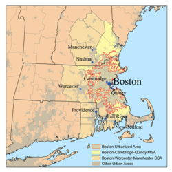 Location of Boston Combined Stateestical Aurie