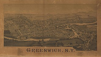 Greenwich (village), New York - Perspective map of Greenwoch with list of landmarks from 1885 by L.R. Burleigh