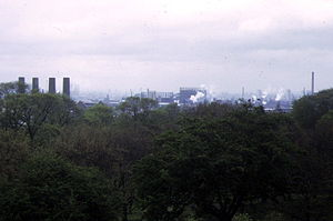 Greenwich Peninsula - The peninsula glimpsed from Greenwich Park in 1973. The view is framed on left and right by the chimneys of Greenwich Power Station and Blackwall Point Power Station