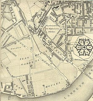 Pimlico - Greenwood's 1827 map showing parts of Pimlico and Millbank prior to development