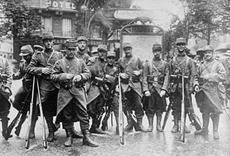 French Army in World War I - French soldiers at the beginning of World War I. They retain the peacetime blue coats and red trousers worn during the early months of the war