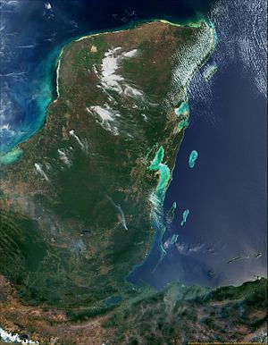 Spanish conquest of Yucatán - Satellite view of the Yucatán Peninsula