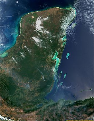Spanish conquest of the Maya - Satellite view of the Yucatán Peninsula