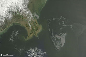 Terra (satellite) - Image: Gulf of Mexico oil spill May 1 cropped
