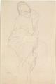 Gustav Klimt – Auf einem Hocker Sitzende von vorne.tiff