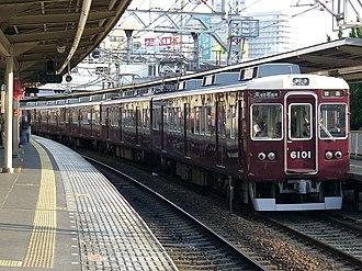 """Hankyu Takarazuka Main Line - A 6000 series EMU on a """"Local"""" service for Hibarigaoka-Hanayashiki"""