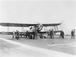 Fairey III-F aboard the British aircraft carrier HMS Furious;  around 1930