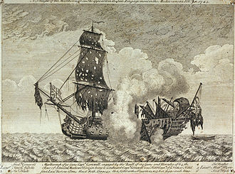 Battle of Toulon (1744) - The 90-gun HMS ''Marlborough'', heavily damaged after the battle