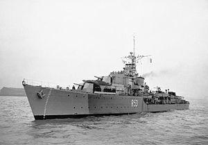 U and V-class destroyer - Image: HMS Undaunted 1944 IWM FL 008812