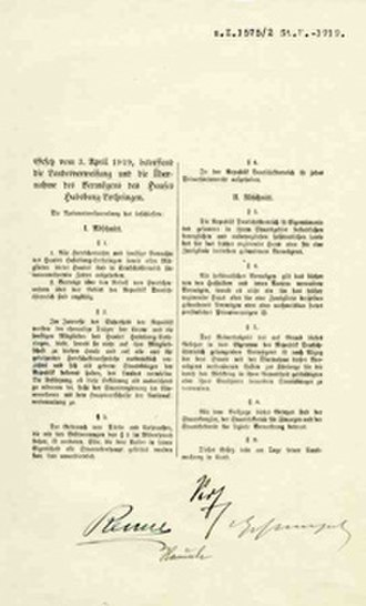 Habsburg Law - Front page of the original law (1919)