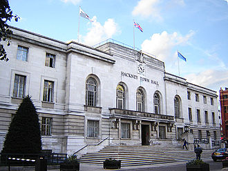 London Borough of Hackney - Hackney Town Hall was built in the 1930s for the former Metropolitan Borough. (October 2005)