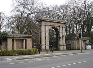 Haigh Hall - Entrance gates and lodges to Haigh Country Park