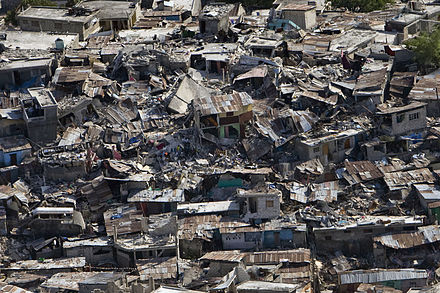 Damaged buildings in Port-au-Prince, Haiti, January 2010. Haiti earthquake damage.jpg