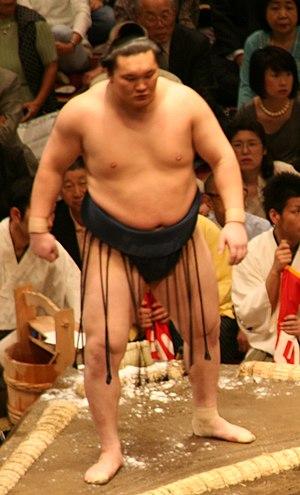 Mawashi - Hakuhō in silk mawashi worn by sekitori during tournaments