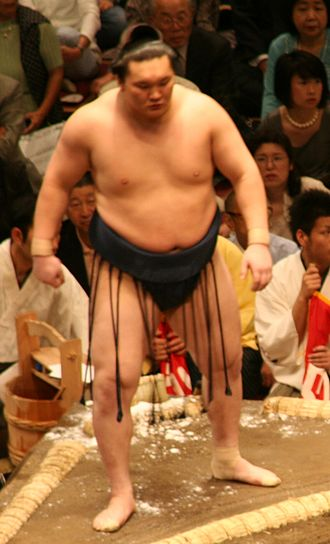 Mawashi - Hakuhō in silk mawashi worn by sekitori during tournaments
