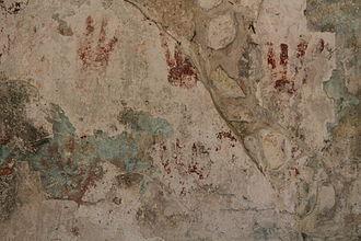 San Gervasio (Maya site) - Hand prints at Las Manitas (in detail)