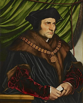 Thomas More, whose Utopia portrayed a society based on common ownership of property Hans Holbein, the Younger - Sir Thomas More - Google Art Project.jpg