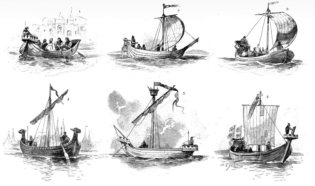 Différents modèles de bateaux de la Hanse au 14e et 15e siècle.