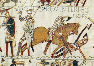 Reading Museum - The Bayeux Tapestry showing the death of King Harold II.