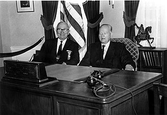 Herbert Hoover National Historic Site - Truman and Hoover at the dedication ceremony for the Herbert Hoover Presidential Library and Museum.