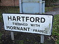 Hartford twinning sign, Cheshire.JPG