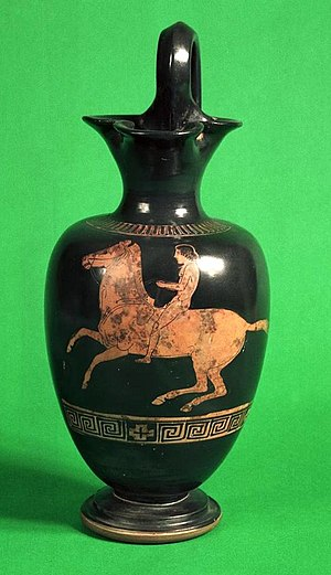 Ure Museum of Greek Archaeology - A c. 430 BC ancient Greek oinochoe attributed to the Hasselmann Painter.