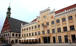 Zwickau - Zwickau town hall and theatre