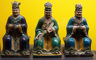 Diyu - Ming dynasty (16th century) glazed earthenware figurines representing three of the ten Yama Kings.