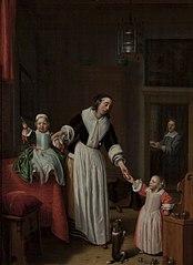 Portret van Eeuwout Prins (1622-1662) en zijn gezin
