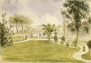 Henry Williams (missionary) - Watercolour painting by Henry Williams of the CMS mission house at Paihia