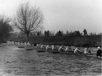 Hertford College Boat Club - Hertford College's 1954 1st Torpid bumping Christ Church