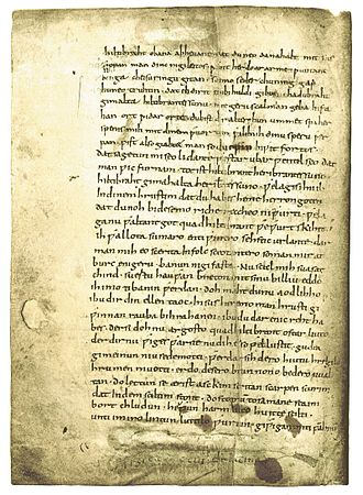 Hildebrandslied - The second page of the Hildebrandslied manuscript.