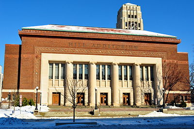 Hill Auditorium in winter