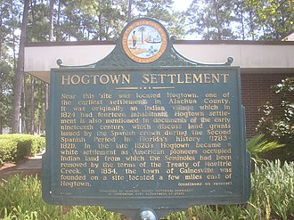 Hogtown, Florida - Obverse of the historical marker in front of the Westside Recreation Center