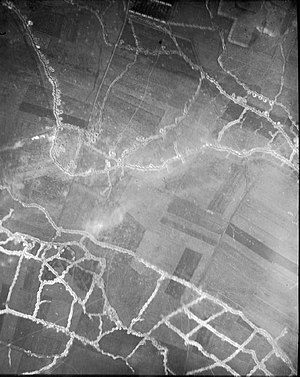 Actions of the Hohenzollern Redoubt - Image: Hohenzollern Redoubt aerial photograph 1915 North at top