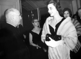 Francis Spellman - Spellman and Madame Hope Somoza at a reception in New York City.