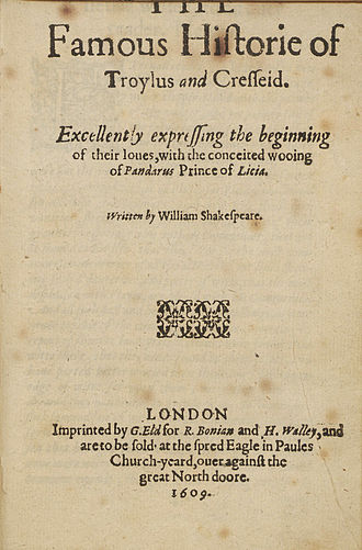 Troilus and Cressida - Title page, 1609 quarto edition