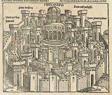 Panorama di Gerusalemme alla fine del XV secolo (Hartmann Schedel, Norimberga 1493)