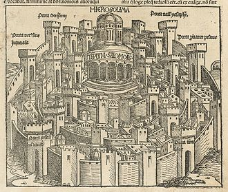 History of the Jews in Tunisia - View of Jerusalem and the Temple of Solomon by Hartmann Schedel