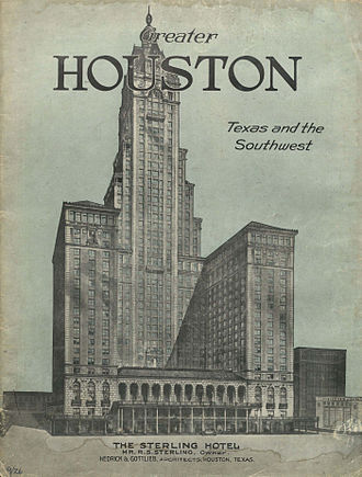Ross S. Sterling - A 1926 magazine cover depicts the proposed 40-story Sterling Hotel in Houston, designed by Ross Sterling's son-in-law, architect Wyatt Hedrick; the hotel was never built.
