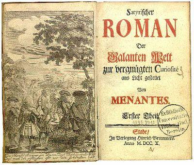 Titelseite: Hunold, Christian Friedrich = Menantes, Satyrischer Roman, 1-2 (Stade: H. Brummer, 1710). (Quelle: Wikimedia)