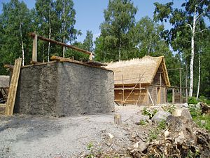 Ekerö Municipality - Reconstructed clay buildings at Birka