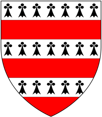 Thomas Hungerford (Speaker) - Arms of Hussey: Barry of six ermine and gules, as visible on the seal of Walter Hungerford, 1st Baron Hungerford