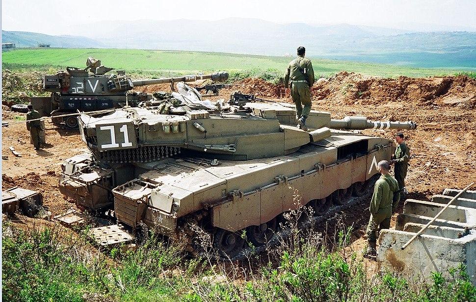IDF tank near Shreife IDF military post in lebanon
