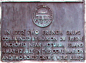 Marc-Joseph Marion du Fresne - A close up of the monument to Du Fresne and his men.