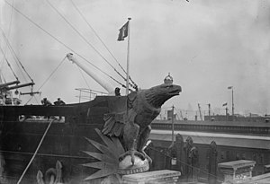 SS Imperator - Detail of the figurehead after its wings were damaged