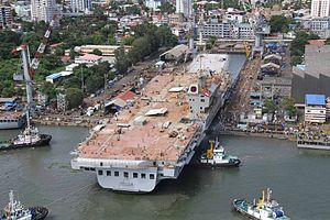 Vikrant-class aircraft carrier - INS Vikrant during its undocking in June 2015