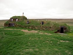 Iceland Saenautasel Earth covered home outside